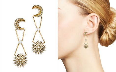 SUEL Blackened 18K Yellow Gold Night Blossom Diamond Drop Earrings - Bloomingdale's_2