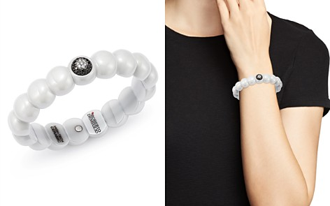 Roberto Demeglio 18K White Gold & White Ceramic Dama Stretch Bracelet with Black & White Diamonds - Bloomingdale's_2