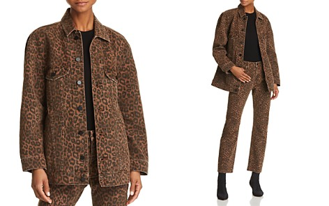 T by Alexander Wang Daze Oversize Denim Jacket in Tan Leopard - Bloomingdale's_2