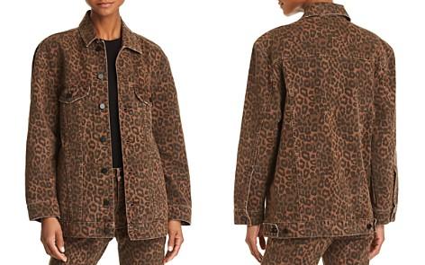 T by Alexander Wang Daze Oversize Denim Jacket in Tan Leopard - Bloomingdale's_2