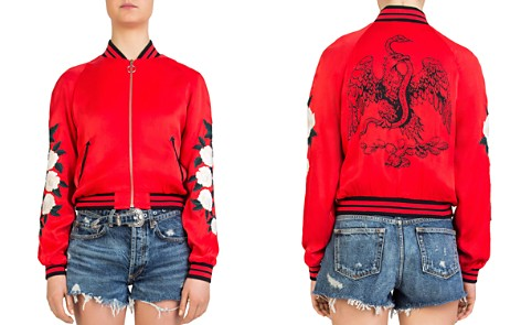 The Kooples Rose-Embroidered Graphic Bomber Jacket - Bloomingdale's_2