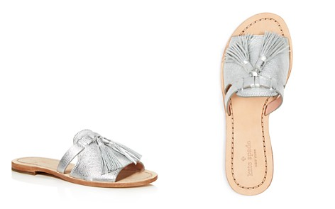 kate spade new york Women's Coby Metallic Leather Tassel Slide Sandals - Bloomingdale's_2