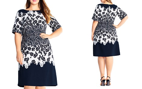 Adrianna Papell Plus Lace Print Fit-and-Flare Dress - Bloomingdale's_2