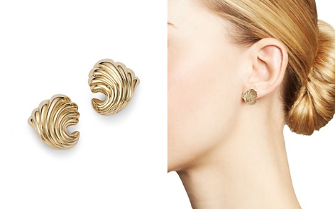 Bloomingdale's Small Shell Earrings in 14K Yellow Gold - 100% Exclusive_2