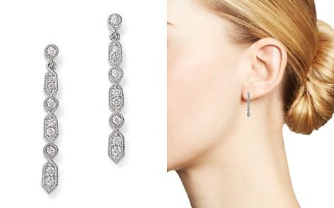 Bloomingdale's Alternating Diamond & Milgrain Drop Earrings in 14K White Gold, 0.15 ct. t.w. - 100% Exclusive _2