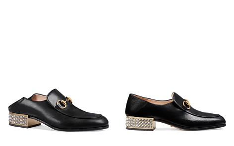 Gucci Women's Horsebit Leather & Crystal Heel Loafers - Bloomingdale's_2