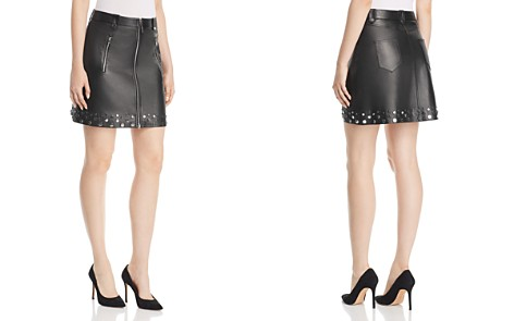 Elie Tahari Zoey Studded Leather Mini Skirt - Bloomingdale's_2