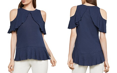 BCBGMAXAZRIA Ruffled Cold-Shoulder Top - Bloomingdale's_2