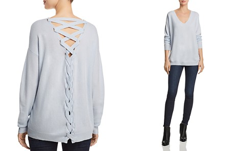AQUA Cashmere Lace-Up Back Cashmere Sweater - 100% Exclusive - Bloomingdale's_2