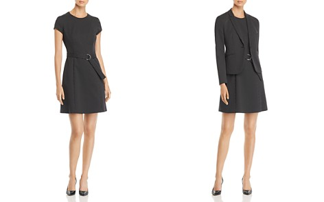 BOSS Dumano Belted Pindot Dress - Bloomingdale's_2