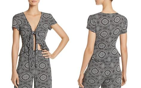 AQUA Tapestry-Print Tie-Front Crop Top - 100% Exclusive - Bloomingdale's_2
