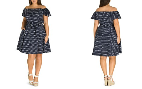 City Chic Plus Sweet Polka-Dot Off-the-Shoulder Dress - Bloomingdale's_2