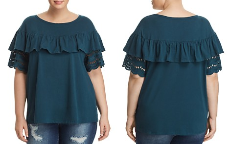 B Collection by Bobeau Curvy Brynlee Eyelet Ruffle Tee - Bloomingdale's_2