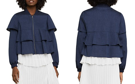 BCBGMAXAZRIA Pinstripe Tiered Ruffle Jacket - Bloomingdale's_2