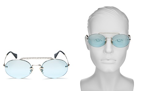 Miu Miu Women's Embellished Brow Bar Mirrored Round Sunglasses, 54mm - Bloomingdale's_2