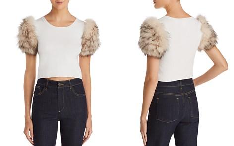 Alice + Olivia Ciara Fox & Rabbit Fur-Sleeve Cropped Sweater - Bloomingdale's_2