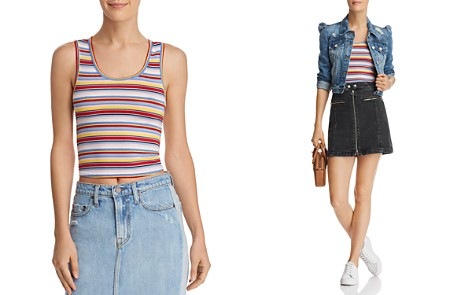 AQUA Rainbow-Stripe Cropped Tank - 100% Exclusive - Bloomingdale's_2