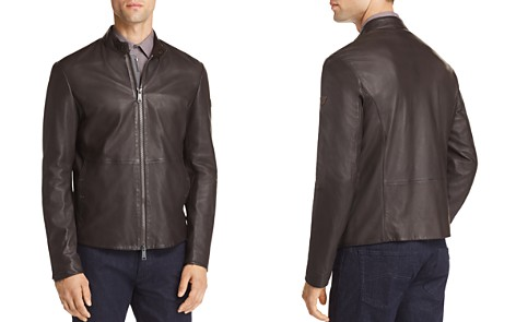Emporio Armani Leather Zip Up Jacket - Bloomingdale's_2