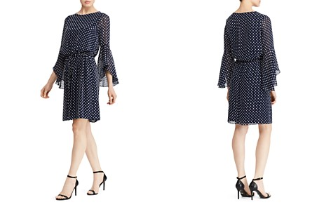 Lauren Ralph Lauren Petites Flutter-Sleeve Dot-Jacquard Dress - Bloomingdale's_2