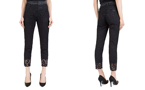 The Kooples Cropped Satin-Waist Lace Pants - Bloomingdale's_2