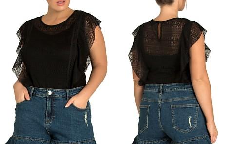 City Chic Plus Flirty Frill Denim Shorts - Bloomingdale's_2