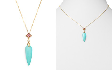"""Olivia B 14K Yellow Gold Stabilized Turquoise, Pink Tourmaline & Diamond Drop Pendant Necklace, 16"""" - 100% Exclusive - Bloomingdale's_2"""