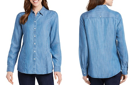 Foxcroft Riley Pinstriped Chambray Top - Bloomingdale's_2