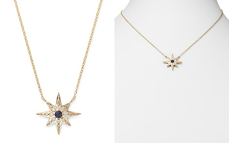 """Bloomingdale's Diamond & Blue Sapphire Starburst Pendant Necklace in 14K Yellow Gold, 17"""" - 100% Exclusive_2"""