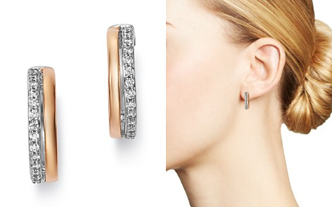 Bloomingdale's Diamond Huggie Earrings in 14K Rose Gold & 14K White Gold, 0.25 ct. t.w. - 100% Exclusive_2
