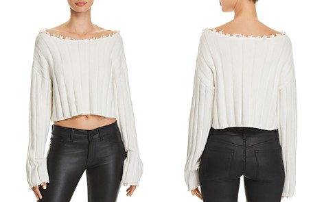 T by Alexander Wang Off-the-Shoulder Cropped Sweater - Bloomingdale's_2