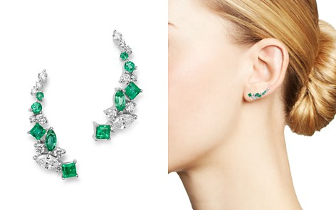 Bloomingdale's Diamond & Emerald Climber Earrings in 14K White Gold - 100% Exclusive_2