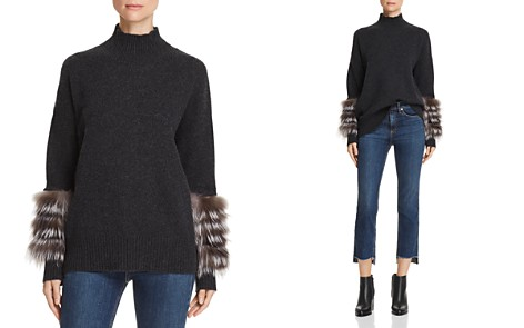 C by Bloomingdale's Fox Fur & Leather-Trim Cashmere Turtleneck Sweater - 100% Exclusive _2
