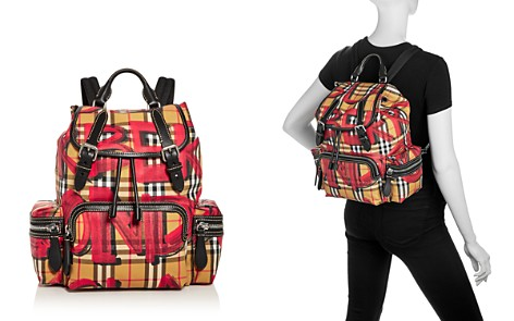 Burberry Graffiti Logo Print Vintage Check Medium Backpack - Bloomingdale's_2