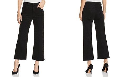 J Brand Joan Corduroy Cropped Wide Leg Jeans in Black - Bloomingdale's_2