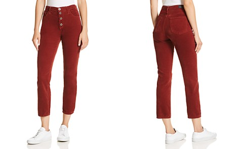 AG Isabelle Straight Corduroy Jeans in Tannic Red - Bloomingdale's_2