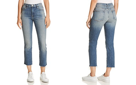 FRAME Le High Straight Double Needle Raw-Edge Jeans in Silverado - Bloomingdale's_2