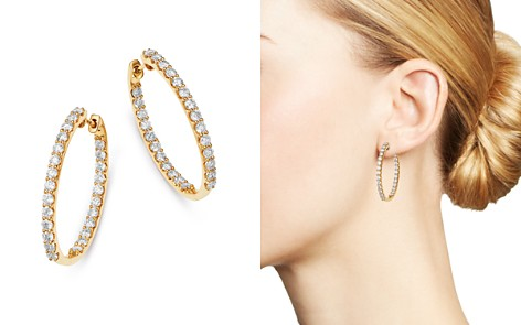 Bloomingdale's Diamond Inside Out Hoop Earrings in 14K Yellow Gold_2