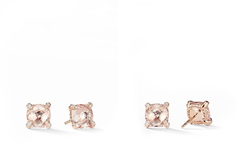 David Yurman Chatelaine Stud Earrings with Morganite & Diamonds in 18K Rose Gold - Bloomingdale's_2