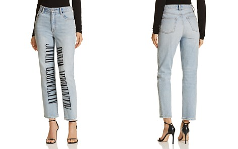 T by Alexander Wang Cult Logo-Embroidered Wide Leg Jeans in Bleach - Bloomingdale's_2