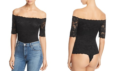 GUESS Dara Off-the-Shoulder Lace Bodysuit - Bloomingdale's_2