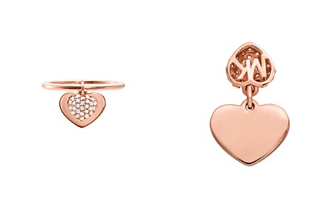 Michael Kors Kors Love Cubic Zirconia Pavé Heart Sterling Silver Ring in 14K Gold-Plated Sterling Silver, 14K Rose Gold-Plated Sterling Silver or Solid Sterling Silver - Bloomingdale's_2