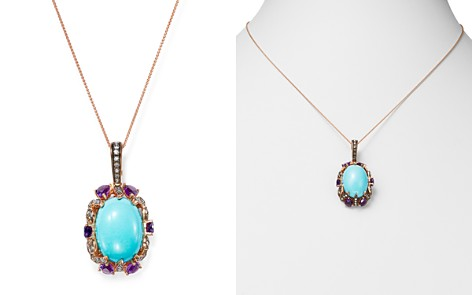"""Bloomingdale's Turquoise, Amethyst & Brown Diamond Pendant Necklace in 14K Rose Gold, 18"""" - 100% Exclusive_2"""