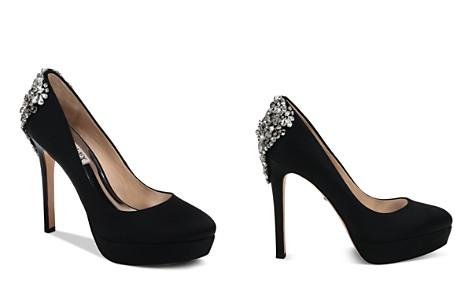 Badgley Mischka Women's Viola Almond Toe Embellished Satin Platform High-Heel Pumps - Bloomingdale's_2