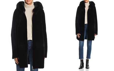 Maximilian Furs Reversible Lamb Shearling Coat with Fox Fur Trim - 100% Exclusive - Bloomingdale's_2