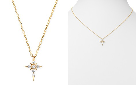 Bloomingdale's Diamond Cross Pendant Necklace in 14K Yellow Gold, 0.13 ct. t.w. - 100% Exclusive_2
