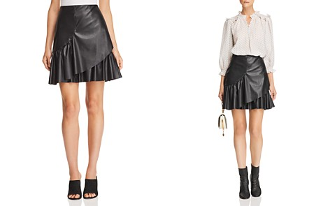 Rebecca Taylor Vegan-Leather Ruffle Skirt - Bloomingdale's_2