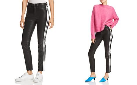 rag & bone/JEAN Track Stripe Leather Ankle Cigarette Jeans in Black - Bloomingdale's_2