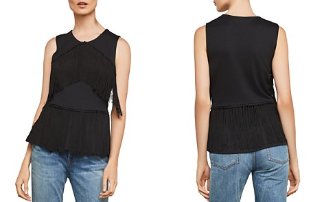 BCBGMAXAZRIA Fringed Ponte Top - Bloomingdale's_2
