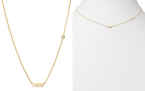 "Zoë Chicco 14K Yellow Gold Tiny Capital Letter MRS Diamond Necklace, 16"" - Bloomingdale's_2"