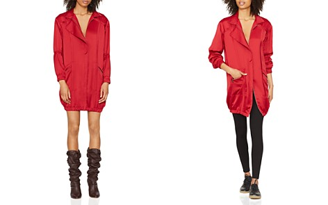 HALSTON HERITAGE Satin Shirt Dress - Bloomingdale's_2